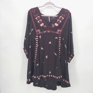Free People Embroidered Wide Sleeve V Neck Tunic